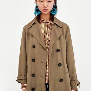 Zara Rustic Linen Trench Coat 🧥 0518/065 sz Small